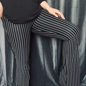 Vtg B&W vertical pinstripe nylon bell bottoms